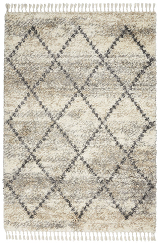 Oslo Shag Rug in Ivory/Grey by Nourison