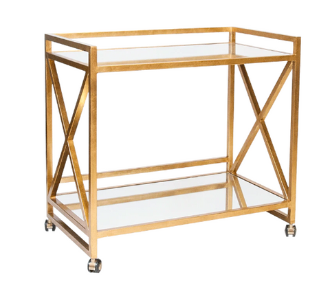"Gold Leafed ""X"" Bar Cart with Mirrored Tops"
