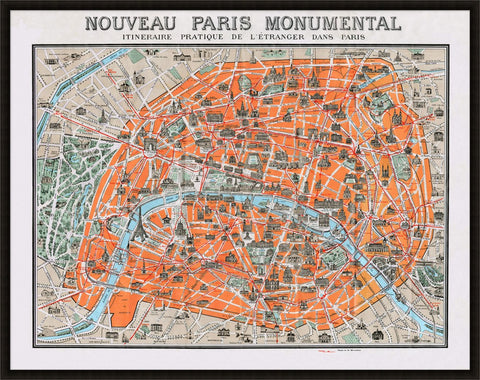 Monumental Map of Paris Wall Art design by Lillian August