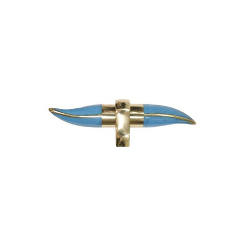 Lenny Resin Horn Shape Handle w/ Brass Detailing in Turquoise design by BD Studio