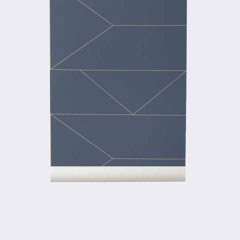 Sample Lines Wallpaper in Dark Blue design by Ferm Living