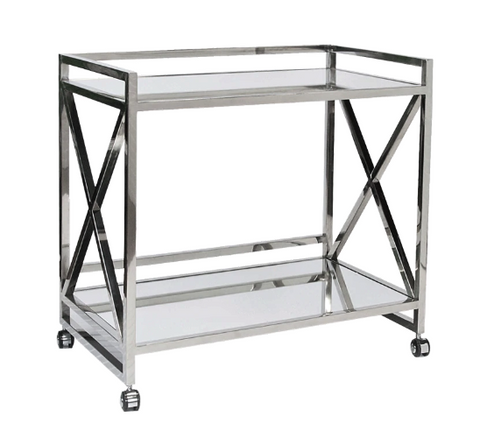 "Stainless Steel ""X"" Bar Cart with Mirrored Tops"