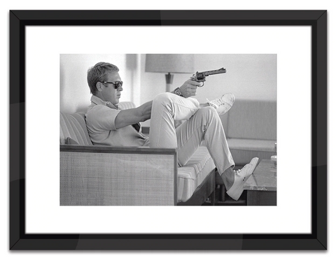 Steve McQueen Take Aim in Black and White Print