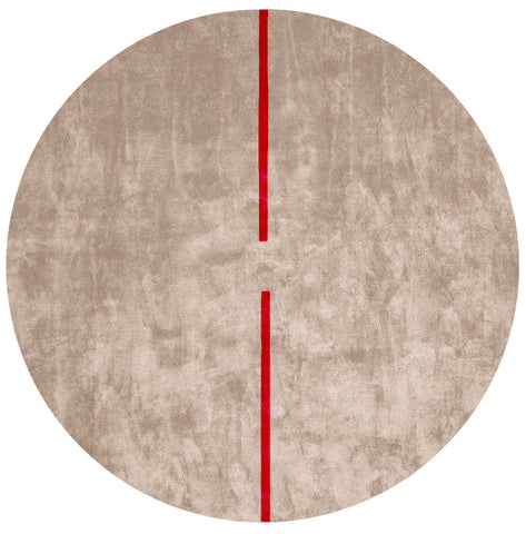 Lightsonic Hand Tufted Rug w/ Red Stripe design by Second Studio