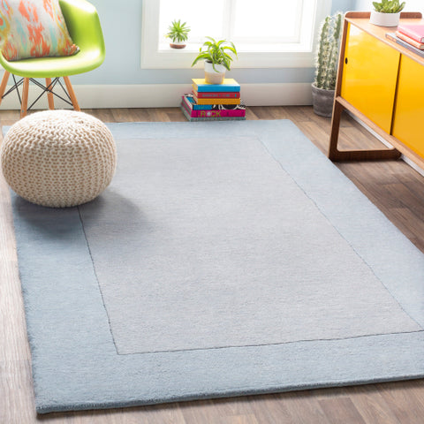 Mystique Collection Wool Area Rug in Slate Blue and Silvered Grey