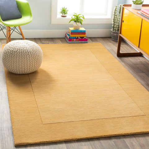 Mystique Collection Wool Area Rug in Dark Goldenrod
