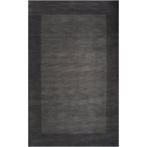 Mystique Collection Wool Area Rug in Jet Black and Charcoal Grey design by Surya