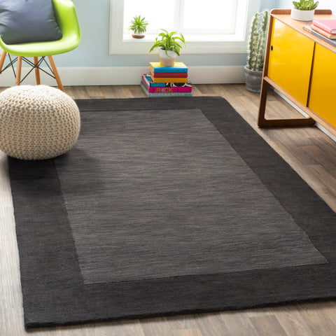 Mystique Collection Wool Area Rug in Jet Black and Charcoal Grey