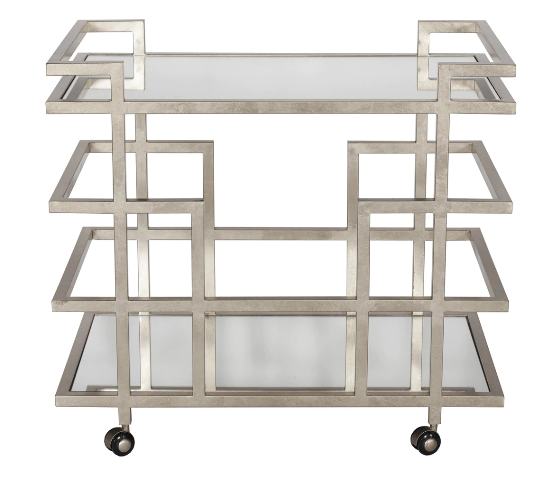 Silver Leaf Linear Bar Cart with Two Mirror Shelves