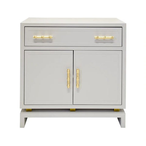 Marcus 2 Door Nightstand in Grey Lacquer & Gold Leaf