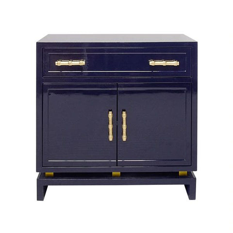 Marcus 2 Door Nightstand in Navy Lacquer & Gold Leaf