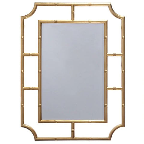 Marian Mirror w/ Bamboo Detail Frame in Gold Leaf