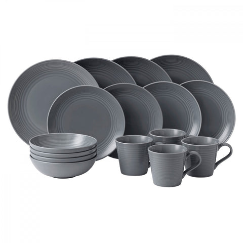 Maze Dark Grey 16-Piece Set by Gordon Ramsay