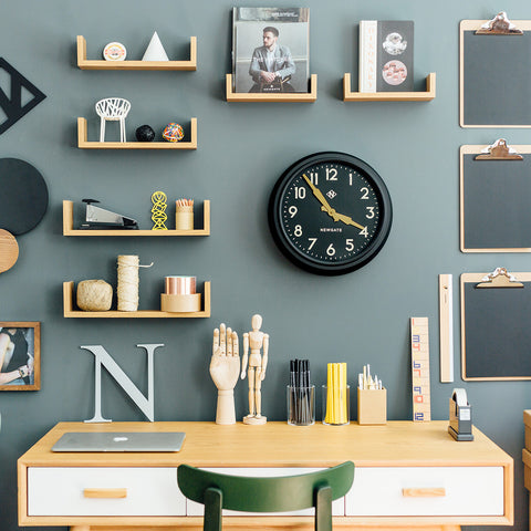 50's Electric Clock in Matte Black on Black