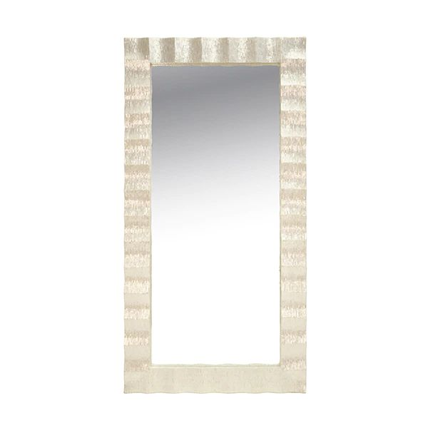 Milo Rectangle Floor Mirror w/ Pearlized Capiz Scallop Frame