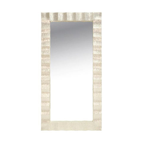 Milo Rectangle Floor Mirror w/ Pearlized Capiz Scallop Frame design by BD Studio