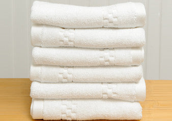Set of 6 Mini Squares Washcloths in White design by Turkish Towel Company