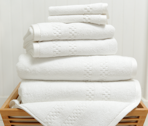 Mini Squares Complete Bath Set in White design by Turkish Towel Company
