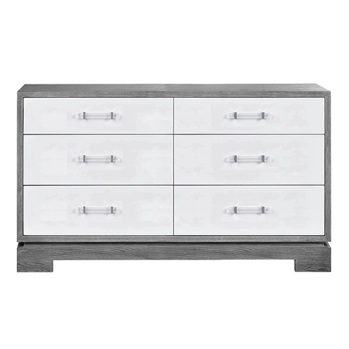 6 Drawer Chest with Acrylic & Nickel Hardware in Various Colors