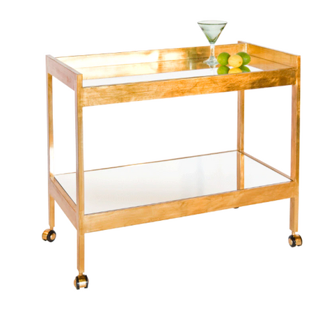Gold Leaf Bar Cart with Mirrored Shelves