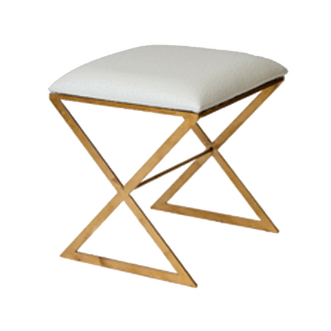 X Side Stool with Gold Leaf Base in Various Colors