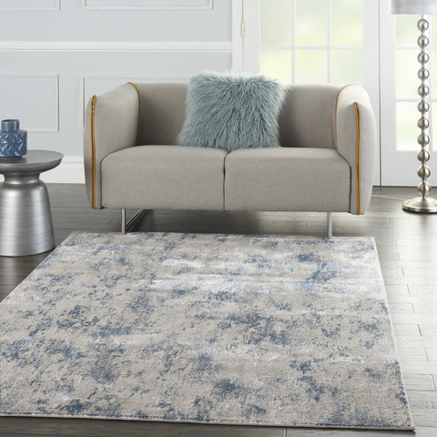 Royal Terrace Rug in Grey & Blue by Kathy Ireland