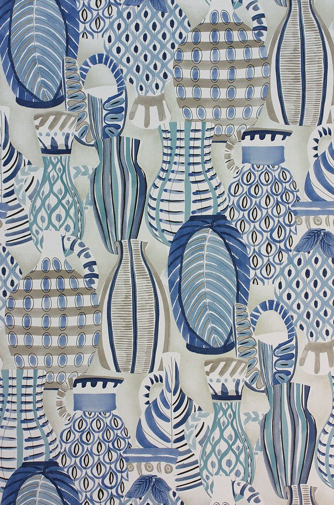 Collioure Wallpaper in blue from the Les Rêves Collection by Nina Campbell