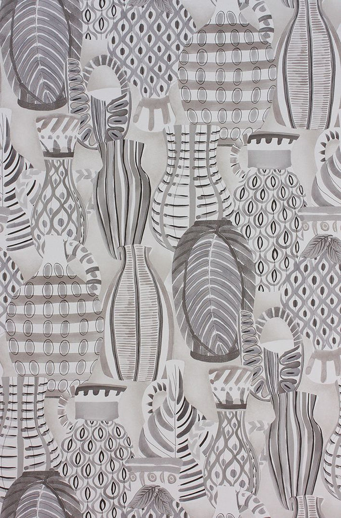 Collioure Wallpaper in gray from the Les Rêves Collection by Nina Campbell