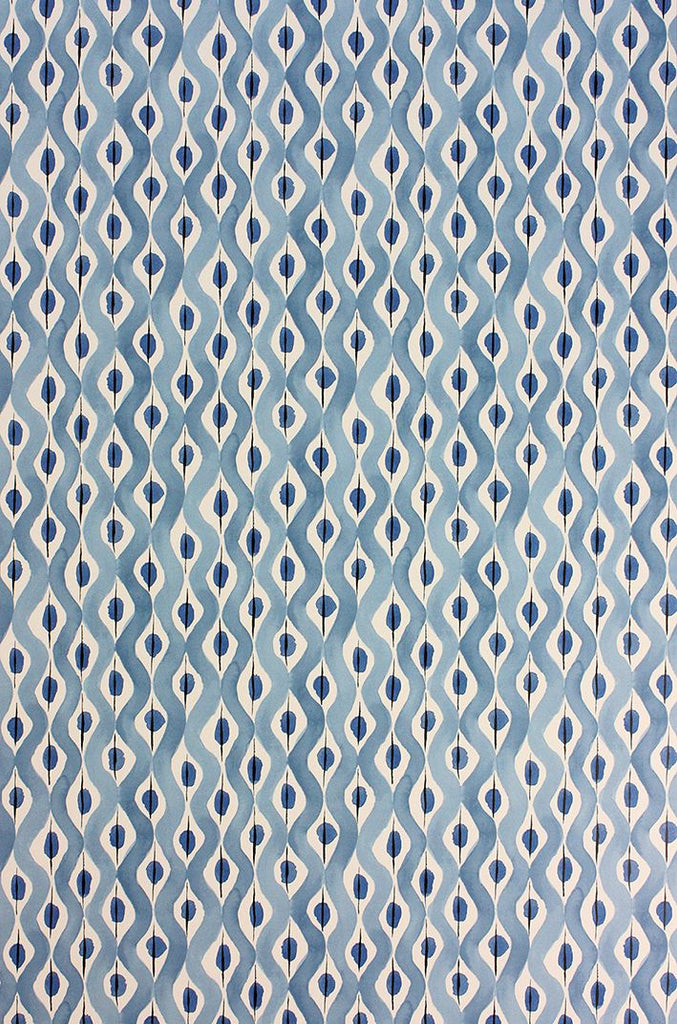 Sample Beau Rivage Wallpaper in blue from the Les R��ves Collection by Nina Campbell