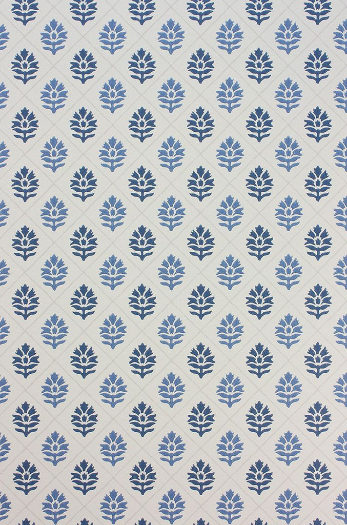 Camille Wallpaper in blue from the Les Rêves Collection by Nina Campbell