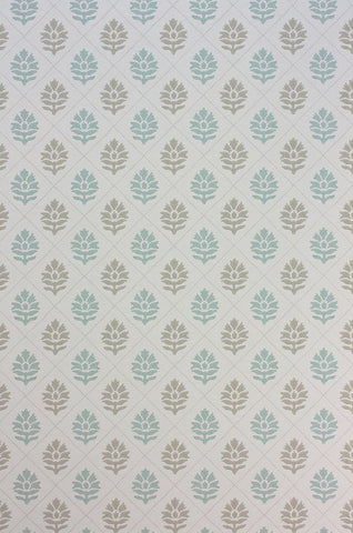 Camille Wallpaper in tan and turquoise from the Les Rêves Collection by Nina Campbell