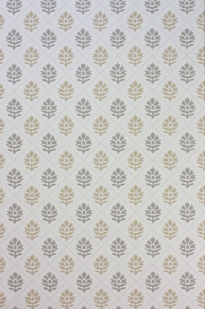 Sample Camille Wallpaper in gray and brown from the Les R��ves Collection by Nina Campbell