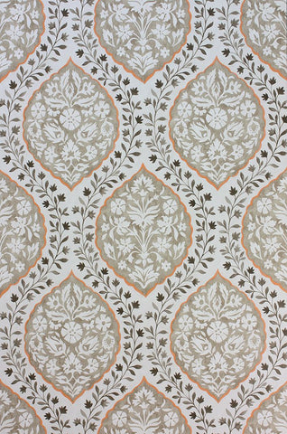 Marguerite Wallpaper in tan from the Les Rêves Collection by Nina Campbell