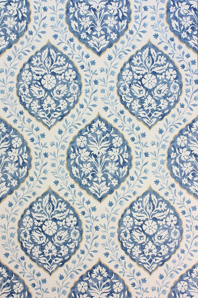 Marguerite Wallpaper in blue from the Les Rêves Collection by Nina Campbell