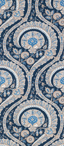 Les Indiennes Wallpaper in blue and tan Color by Nina Campbell