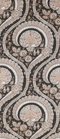 Les Indiennes Wallpaper in black and tan Color by Nina Campbell