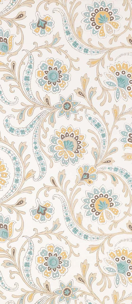 Baville Wallpaper in Aqua and Ochre from the Les Indiennes Collection by Nina Campbell