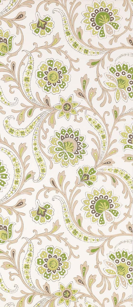 Sample Baville Wallpaper in beige and green from the Les Indiennes Collection by Nina Campbell
