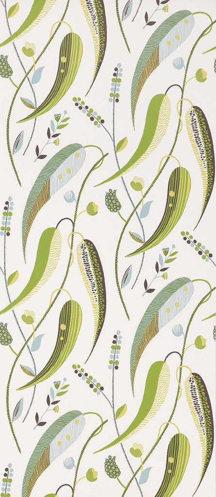 Colbert Wallpaper in green and beige from the Les Indiennes Collection by Nina Campbell