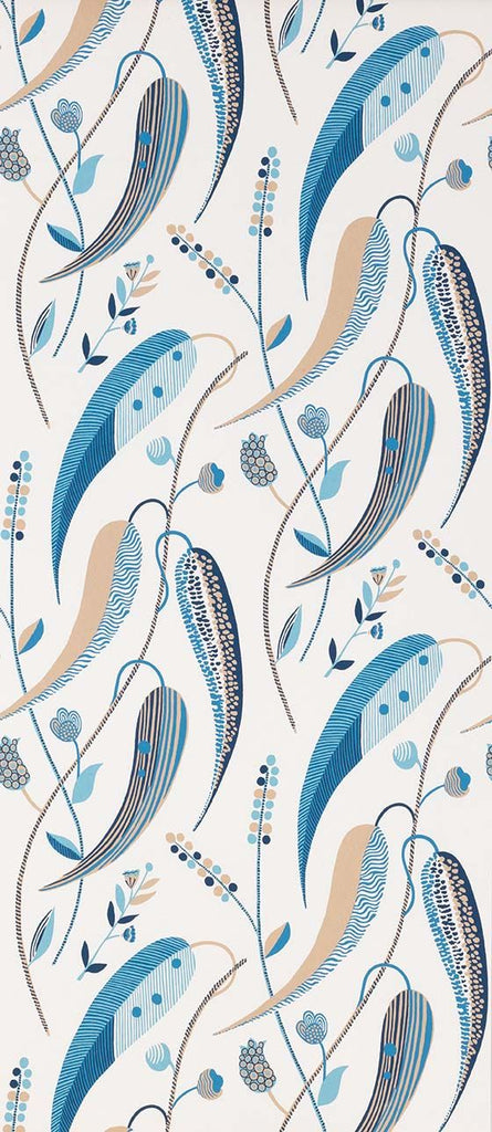 Colbert Wallpaper in blue and beige from the Les Indiennes Collection by Nina Campbell