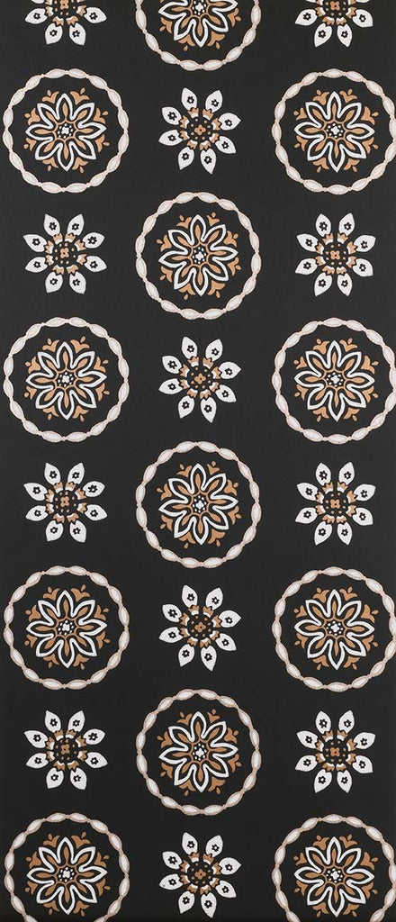 Garance Wallpaper in black from the Les Indiennes Collection by Nina Campbell