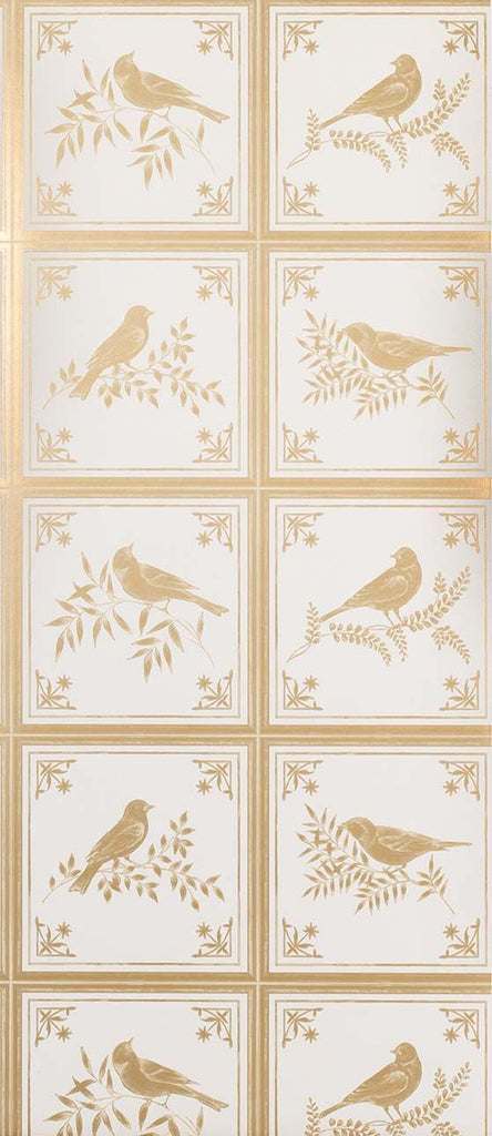 Sample Fortoiseau Wallpaper in beige from the Les Indiennes Collection by Nina Campbell