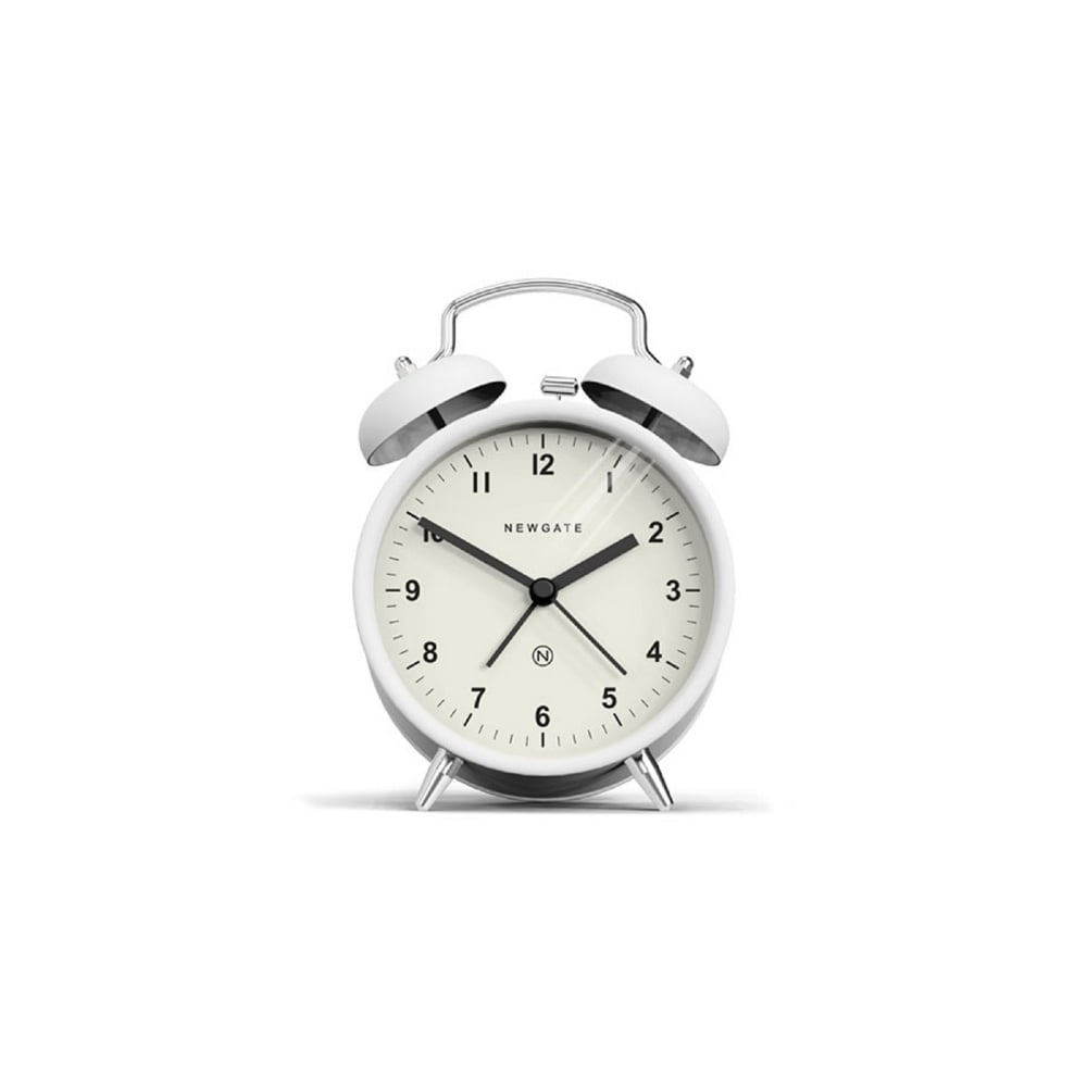 Charlie Bell Alarm Clock in Matte Pebble White