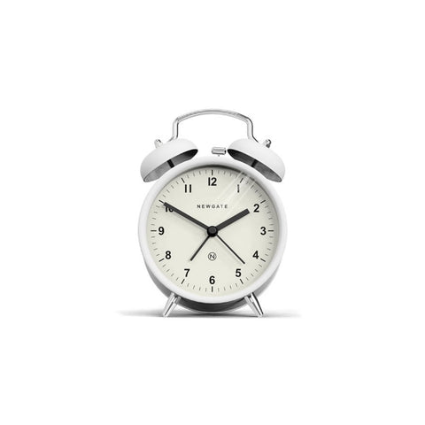 Charlie Bell Alarm Clock in Matte Pebble White design by Newgate
