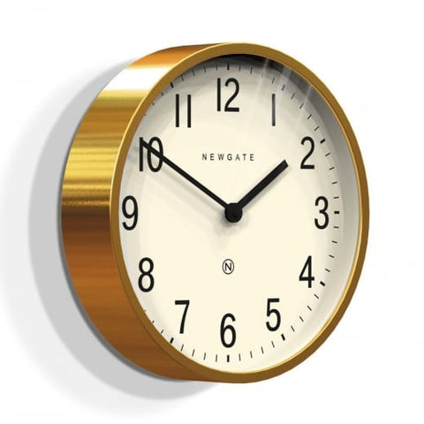 Master Edwards Wall Clock in Radial Brass with White Face
