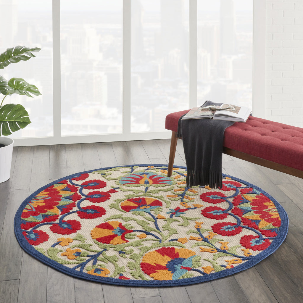 Aloha Indoor-Outdoor Rug in Red & Multi by Nourison