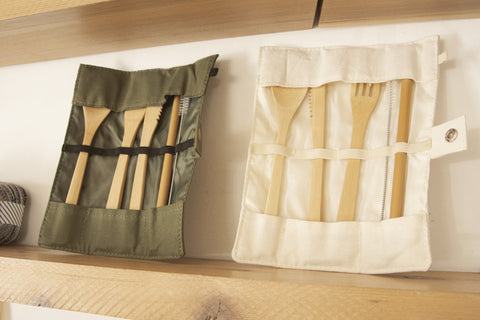 Utensil Wrap Set - Canvas and Bamboo by No Tox Life