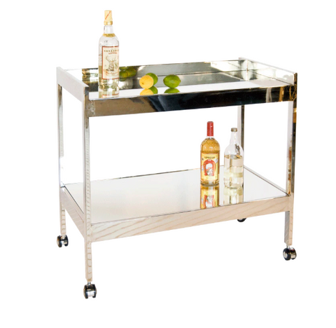 Nickel Plated Bar Cart with Mirrored Shelves