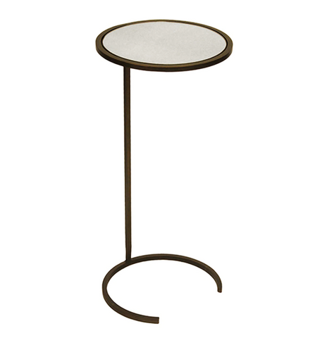Round Cigar Table in Painted Bronze with Antique Mirror Top