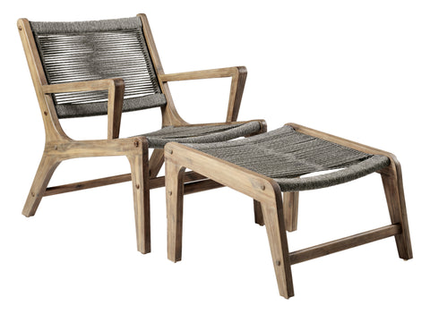 Explorer Oceans Lounge Chair + Ottoman Set by BD Outdoor